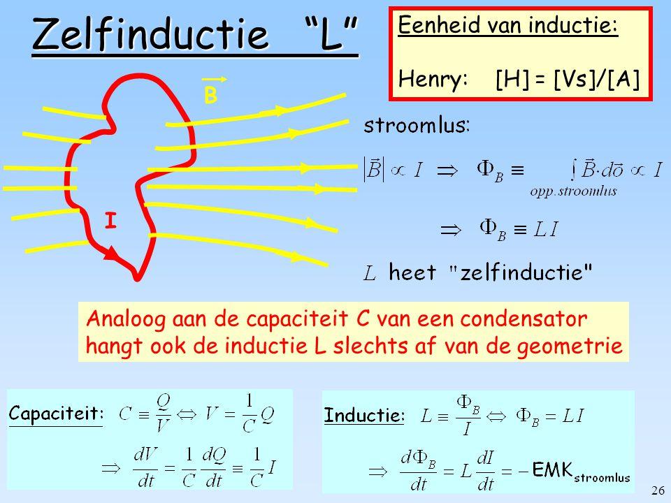 Zelfinductie L Eenheid van inductie: Henry: [H] = [Vs]/[A] B I